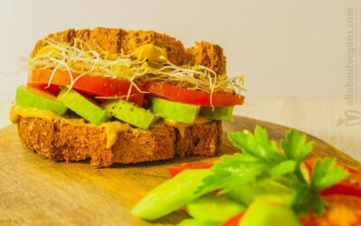 Quick and tasty vegan sandwich with avocado and sprouts