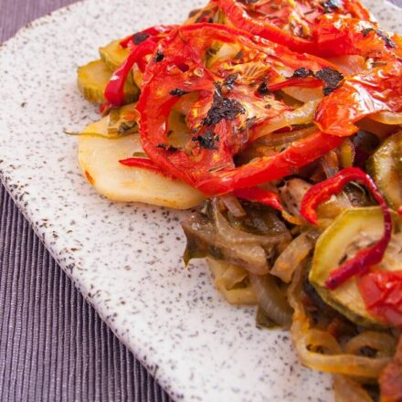 Briam vegan recipe. A traditional Greek food with roasted vegetables.