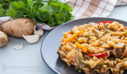 Ginger risotto and fresh coriander