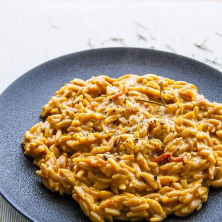 Rosemary & cinnamon orzotto. An orzo vegan reipe.