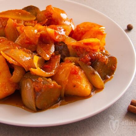 Eggplant & potatoes stew. Vegan recipe