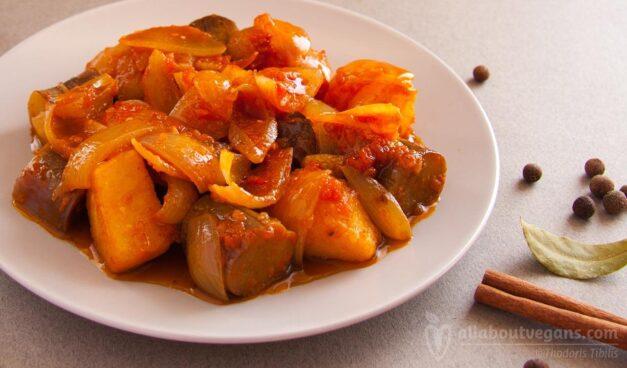 Μελιτζάνες και πατάτες ραγού/στιφάδο