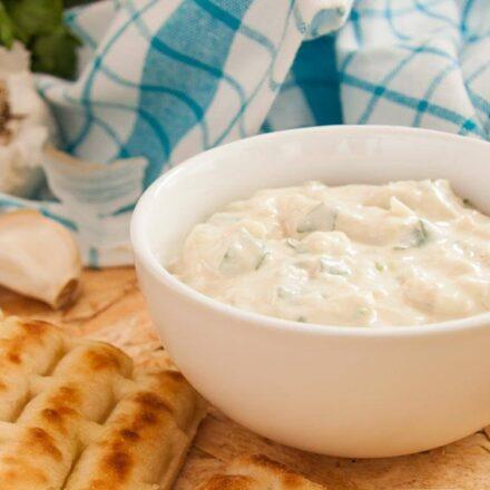 Vegan tzatziki with tahini sauce. A famous Greek traditional appetizer recipe.