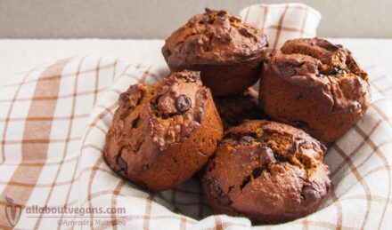 Delicious vegan chocolate muffins with peanut butter