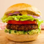 Photo of a vegan burger. The ultimate Vegan Burger! Yummy, hearty and nutritious!