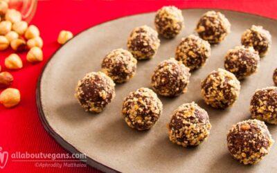 Amazing vegan chocolate truffles with hazelnuts and peanut butter