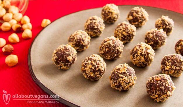 Amazing vegan chocolate truffles with hazelnuts and peanut butter