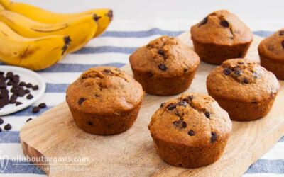 The fluffiest banana muffins with chocolate chips