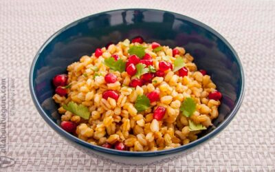 Wheat berries with pomegranate and fresh cilantro