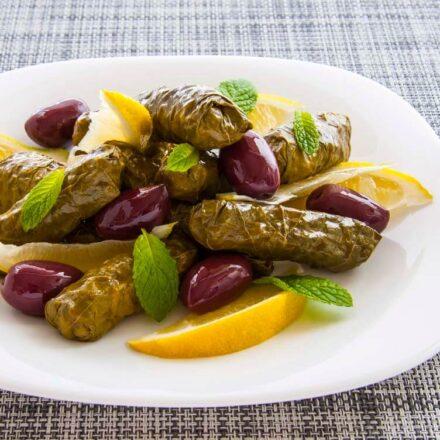 Stuffed grape leaves with vegan white béchamel sauce