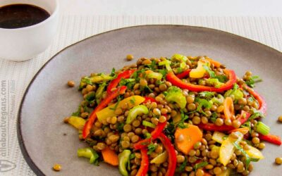Lentil salad with delicious sweet and sour curry sauce