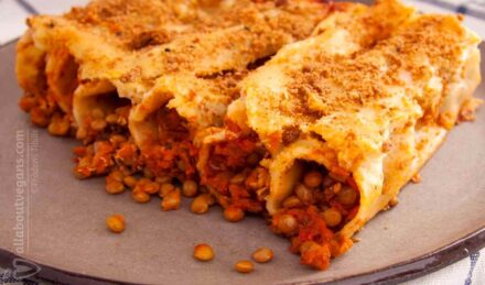 Canned lentils with minced meat and vegetables