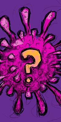 """An illustration of corona virus with a question mark on it with title """"Coronavirus: origin and who's to blame"""". An article for covid-19 virus from All About Vegans com."""