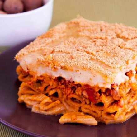 Greek vegan pastitsio with béchamel made from almond milk and olive oil