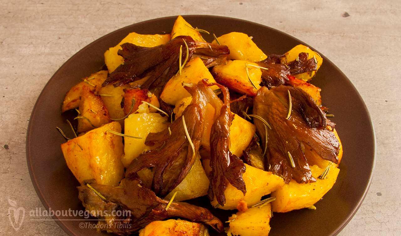 Μανιτάρια πλευρώτους στο φούρνο με πατάτες