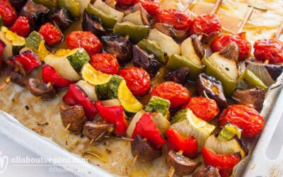Vegan grilled vegetable skewers (souvlakia)