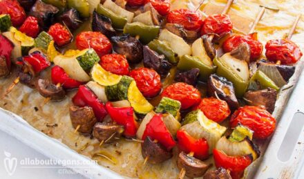 Vegan grilled vegetables skewers (souvlakia)