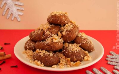 Easy and delicious vegan Greek Christmas no-honey cookies (melomakarona)