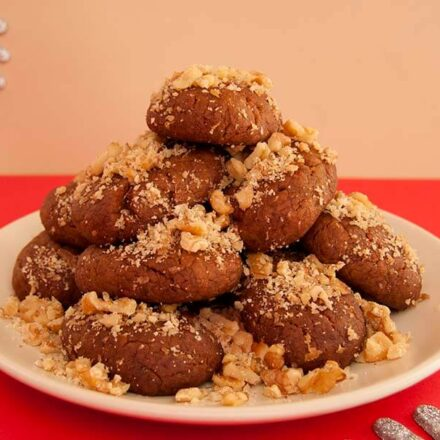 Photo with vegan Greek Christmas no-honey cookies (melomakarona) from All About Vegans