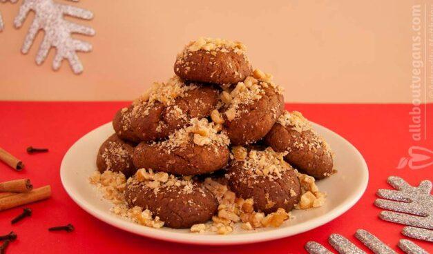 Easy and delicious vegan Greek Christmas no-honey cookies (melomakarona)