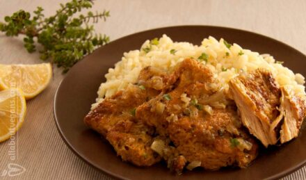 Soy fillets with oregano and pilaf (fasting and vegan)