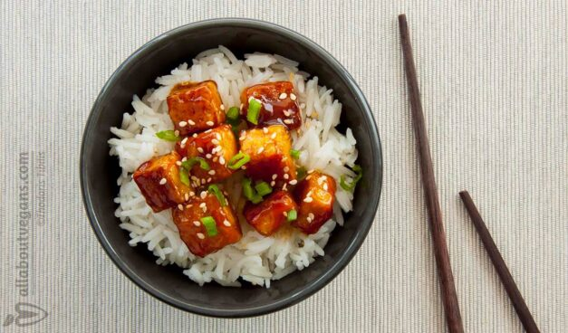 Caramelized tofu with basmati in 20 ′ - General Tso's tofu