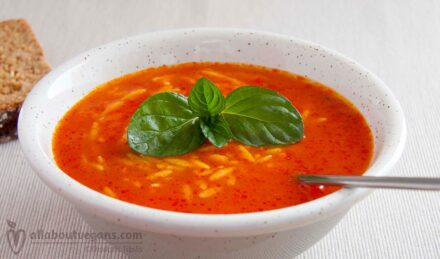 Tomato soup with orzo and basil notes in 30 minutes