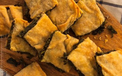 Easy Greek rustic wild greens pie & handmade filo dough (fasting & vegan hortopita)
