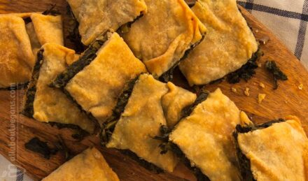 Easy Greek rustic wild greens pie & handmade filo (fasting& vegan hortopita)
