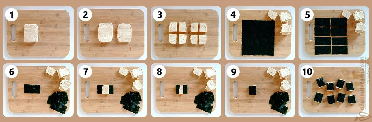 Instructions of how to create vegan Greek bakaliaros (haddock fish) from tofu and nori sheets, by cutting each in eight pieces and roll tofu with nori.