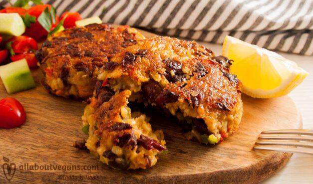 Juicy vegan red bean grilled patties
