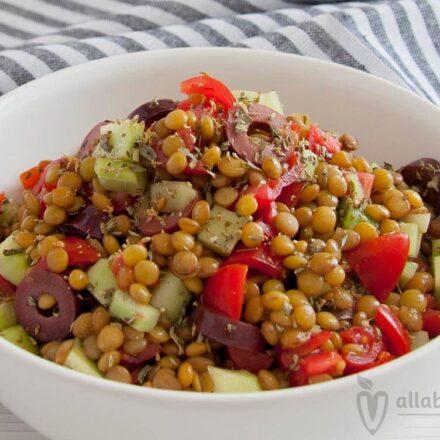 Φωτογραφία από ένα μπολ με σαλάτα από φακές, ελιές, ντοματίνια, ρίγανη και σως βαλσάμικου. Μία vegan συνταγή από το All About Vegans.